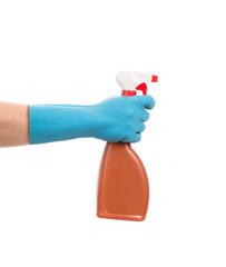 Hand holding brown plastic spray bottle.