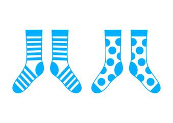 Blue socks on white background