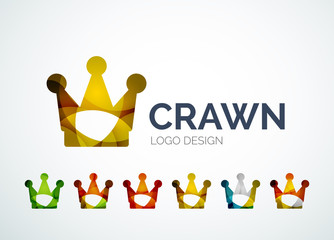 Crown logo design made of color pieces