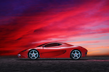 Sportwagen vor einer malerischen Wolkenbank