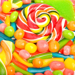 Bright sweets, lollipops, dragee, candies and jelly sweets