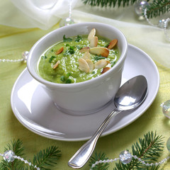 Christmas pea soup with toasted almonds