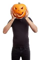 Halloween pumpkin on man head, joking, clipping path