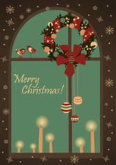 Christmas greeting card with wreatjh on window