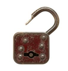 Vintage padlock (unlocked) isolated on white background