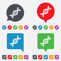 DNA sign icon. Deoxyribonucleic acid symbol.
