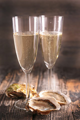 glasses of champagne and oyster