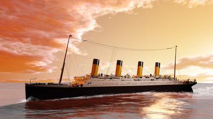 Historisches Pasagierschiff im Sonnenaufgang