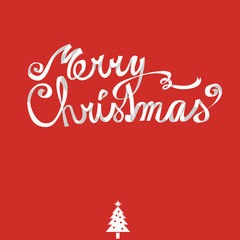 Merry Christmas lettering, white ribbon, hand drawn type