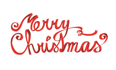 Merry Christmas lettering, red ribbon, hand drawn type