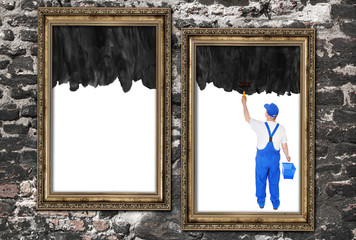 house painter covers two empty frames