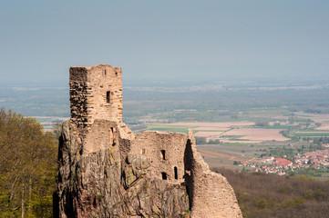 Chateau du Girsberg à Ribeauvillé et plaine d'Alsace