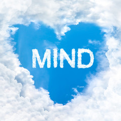 mind word cloud blue sky background only