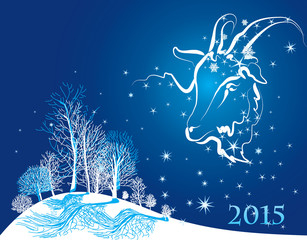 Card, a goat - horoscope, symbol 2015