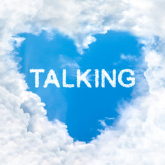 talking word cloud blue sky background only