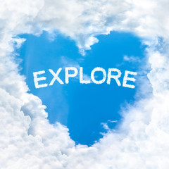 explore word cloud blue sky background only