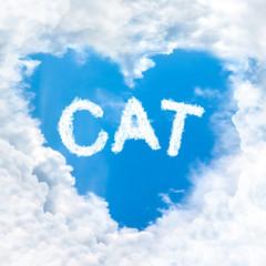 cat word inside love cloud blue sky only