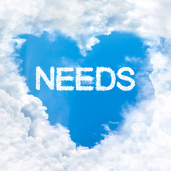 need word inside love cloud blue sky only