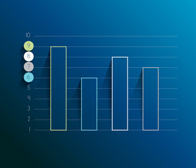 Example of business lined design graph. Infographics chart.