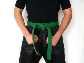Kampfsport Kämpfer grüner Gürtel