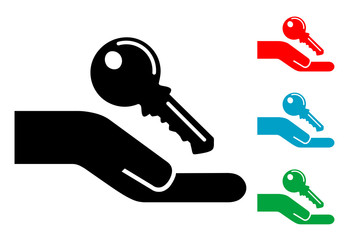 Pictograma mano con llave con varios colores