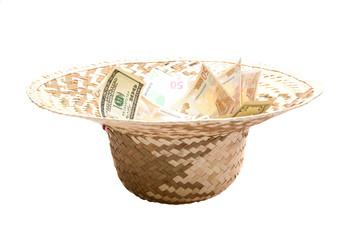Валюта в женской соломенной шляпе