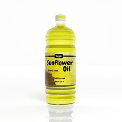 3D Sunflower Oil bottle isolated on white