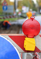 red lamp to signal roadworks and road works