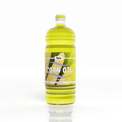 3D Corn Oil bottle isolated on white