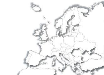 mappa mondo europa bianco