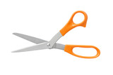 Office Scissors Orange Color Handle isolated on white background