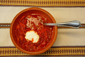 Borsch, traditional russian and ukrainian soup with sour cream