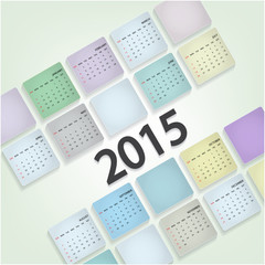 Calendar 2015 design template week starts Sunday