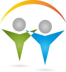 Logo, 3D, Menschen, Heilpraktiker, Paar
