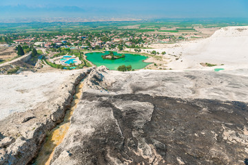 Sights of Turkey Pamukkale mountain and city views