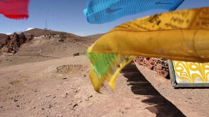 Prayer flags Lungta (flying horses) in Tibet.