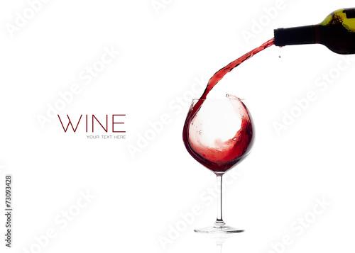 Wine. Glass and Bottle. Red Wine Splash
