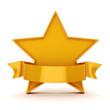 3d gold star on white background
