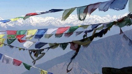 Prayer flags Lungta (flying horses). Himalayas.
