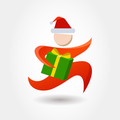 Running man with gift box. Courier with New Year, Christmas parc