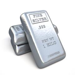 Fine silver bars on white background.  Finance illustration