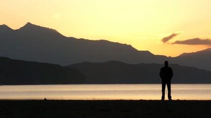 Dawn in Tibet. Manasarovar lake (Mapam Yumco).