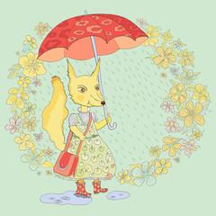 Fox under the umbrella