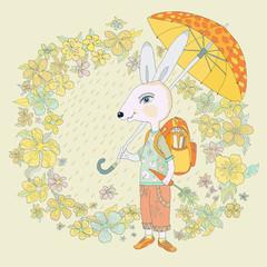 Hare under the umbrella