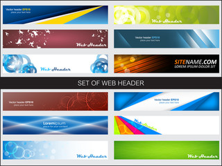 Set of web header or banner, editable vector design