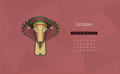 Calendar for 2015, the month of October, the year of the goat.