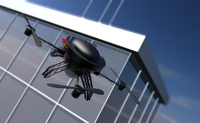 Drone bij een wolkenkrabber