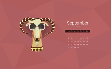 Calendar for 2015, the month of September, the year of the goat
