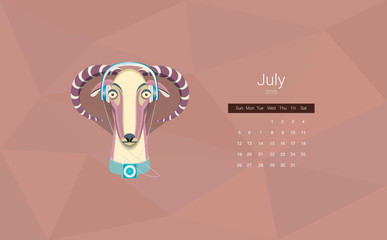 Calendar for 2015, the month of July, the year of the goat. All