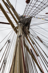 Mast and rigging of a Tall Ship sailing vessel
